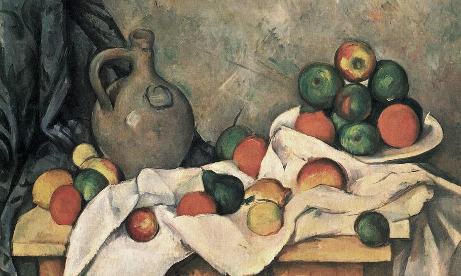 Paul Cézanne, Stilleben, Draperie, Krug und Obstschale