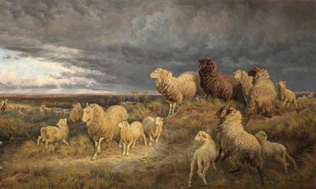 Henry William Banks Davis, Approaching Thunderstorm, Flocks Driven Home, Picardy, France