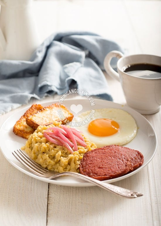 Traditional Dominican breakfast with mangu
