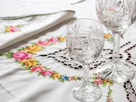Antique cristal and tablecloth.