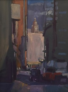 View down School Lane towards the Liver Building eraly August morning