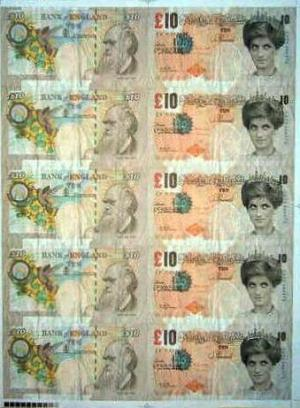 Di faced notes Signed  by  Banksy