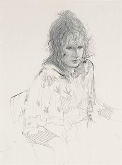 Celia Smoking Signed  by David Hockney