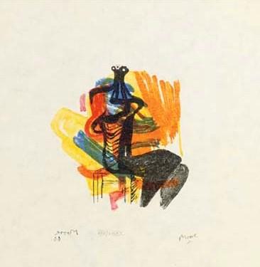 Black Seated Figure on Orange background (Shelter Sketchbook) Signed  by Henry Moore