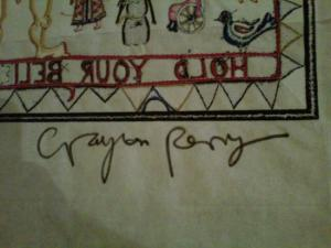 Hold Your Beliefs Lightly   (tapestry) signature Emboidery Signed  by Grayson Perry
