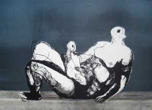 Reclining Mother and Child with Blue Background Signed  by Henry Moore
