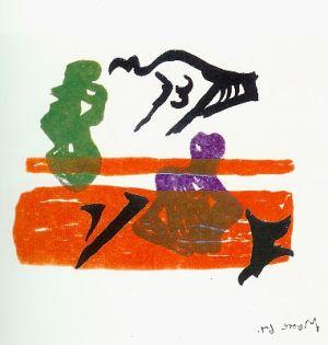 Violet Torso on Orange Stripes (Shelter Sketchbook) Signed  by Henry Moore