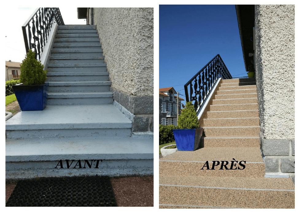 Montée d'escalier en moquette de marbre