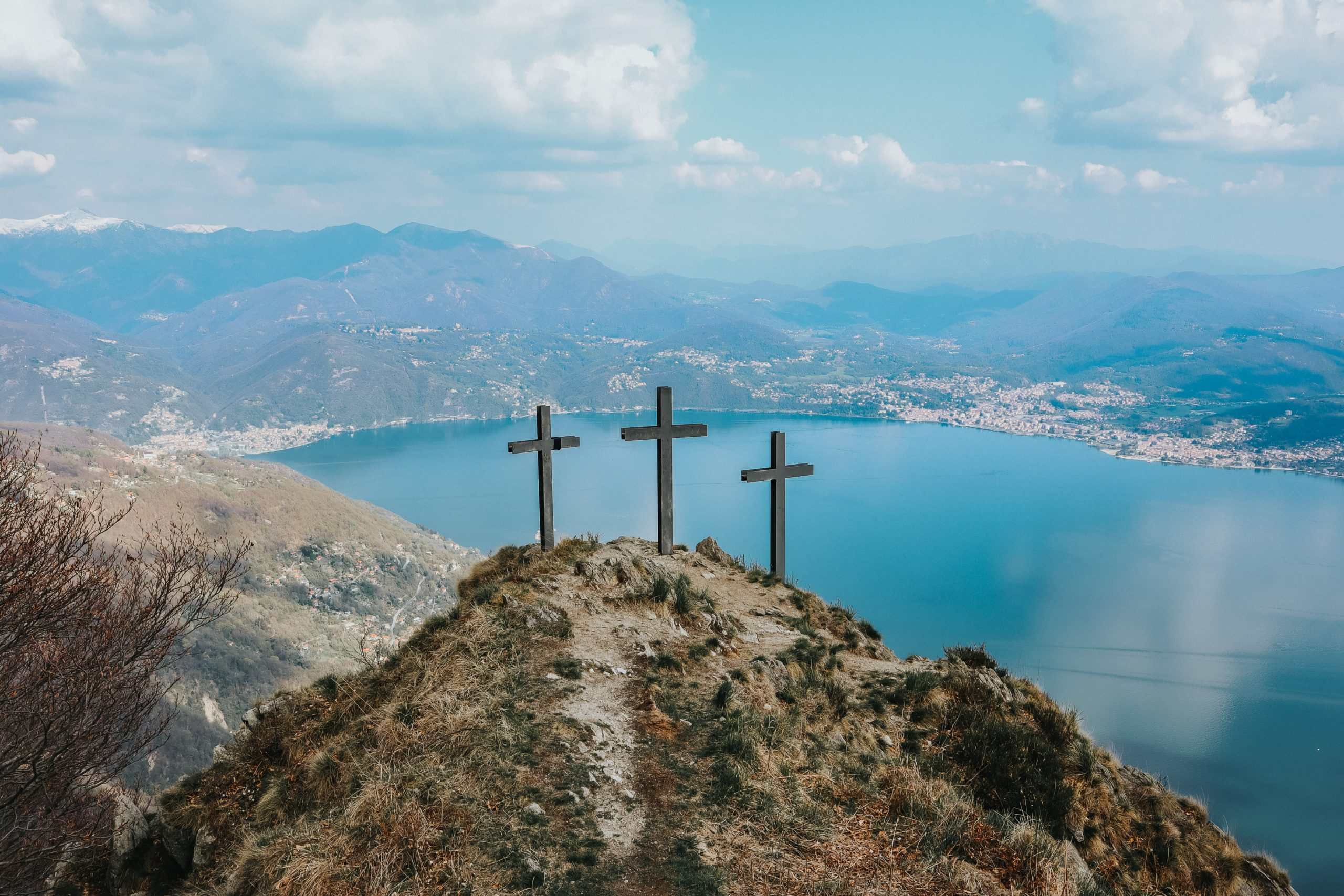 Three crosses on a mountain