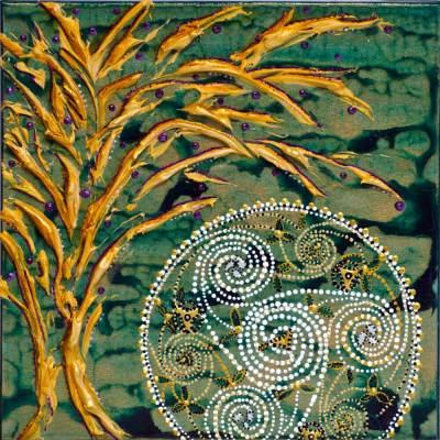 Embrace tree & celtic moon painting