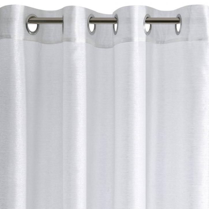 rideau voile uni a oeillets pret a poser blanc 140x250 cm