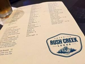Rush Creek Lodge Menu