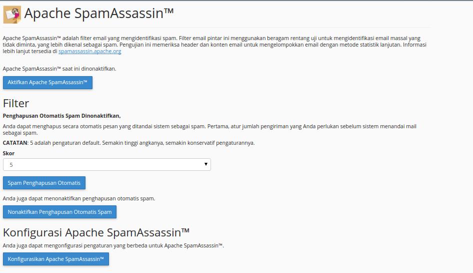 Tampilan SpamAssasin Konfigurasi