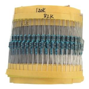 1% metal film resistor Kits, 82K-1M ,10 Pezzi of 24kinds: 75K, 82K, 91K, 100K, 120K, 150K, 180K, 200K, 220K, 240K, 270K, 300K, 3