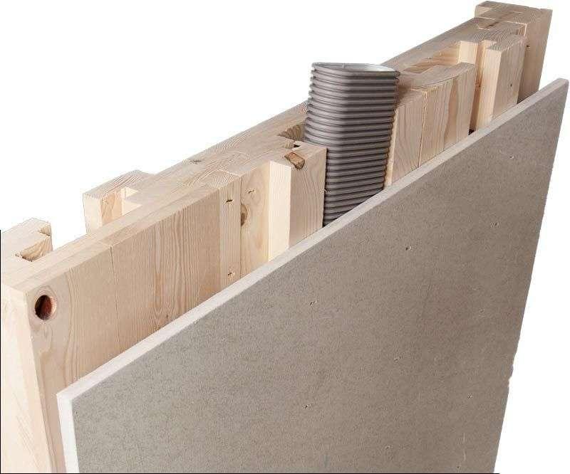 Perete lemn cu instalatii incorporate