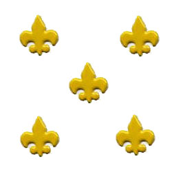 "Yellow -- 5/8"" Fleur De Lis -- Paper Fasteners -- 50 Pack"