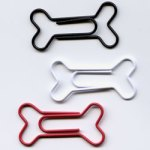 "White, Black & Red -- 1 1/8"" Dog Bone Paper Clips -- 15 Pack"