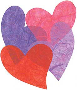 "Cut Shapes -- Hearts -Red -- Pink/Purple 2""-3"""