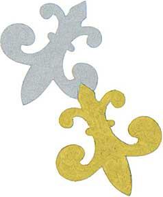 """Cut Shapes -- Fleur de lys - Gold/Silver -- 2""""-3"""""""