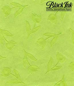 """Bright Green Tulips -- Heavy Weight Mulberry Sheet -- Size: 25"""" x 37"""""""