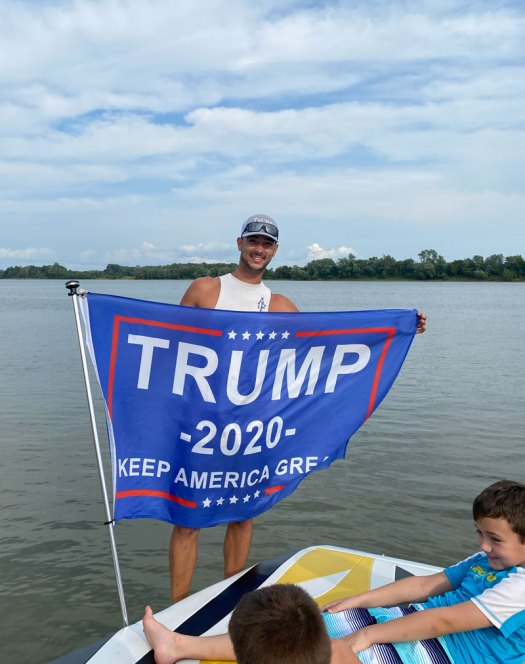 Trump fan on the Ohio River