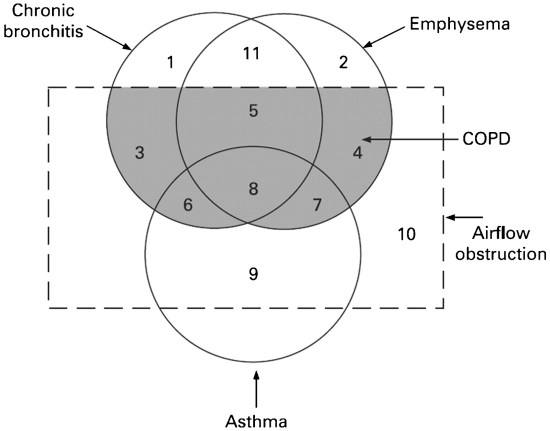 Overlapping circles show that some individuals have features of asthma and COPD.