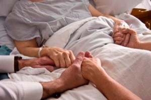 Patient in the hospital receiving palliative care