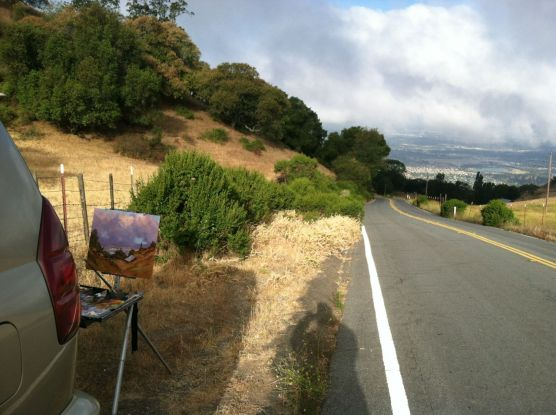 Painting by Quimby Road. My home is at the bottom of this hill, and it is a very steep and windy road! That is Silicon Valley in the distance