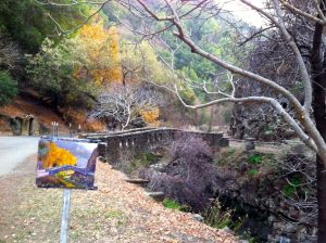 The almost finished painting on the easel.  There was no direct light in the canyon by the time I completed the piece.