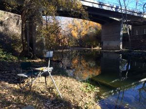 Painting Coyote Creek under the Hellyer Avenue Bridge