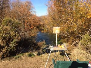 I painted the spot where Coyote Creek flows out of the pond.