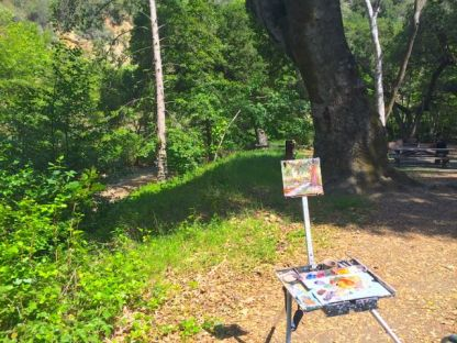 My easel set up on the trail above Stevens Creek