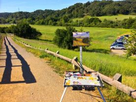 My easel overlooking the Permanente Creek area.