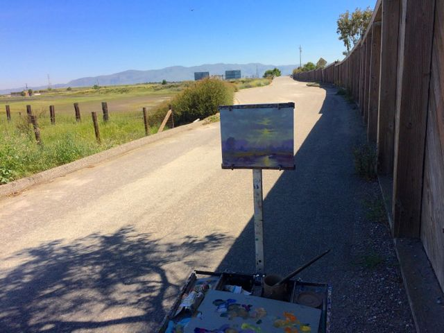 My easel right by the Hwy 237 freeway wall. It was a hot day (90 plus degrees) so stayed in the shade!