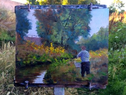 Here is the painting on the easel nearing completion. A little touchup in the studio is in order.