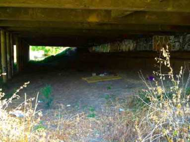A homeless bedroom under the Capital Expressway bridge.