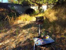 My easel painting the bridge.