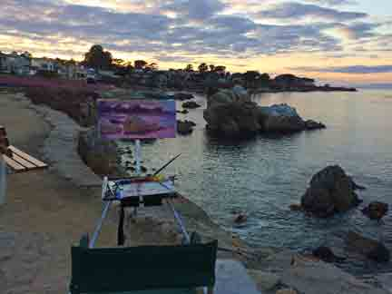 After getting my canvas stamped Wednesday, I went out to Pacific Grove to paint the sunset.