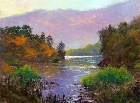 Morning at Almaden Reservoir, 12x16