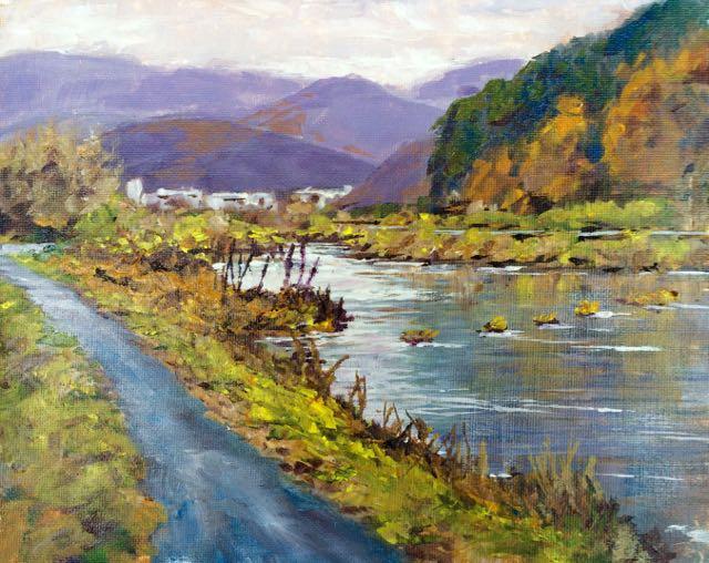 Asahi River, 8x10, acrylic on canvas