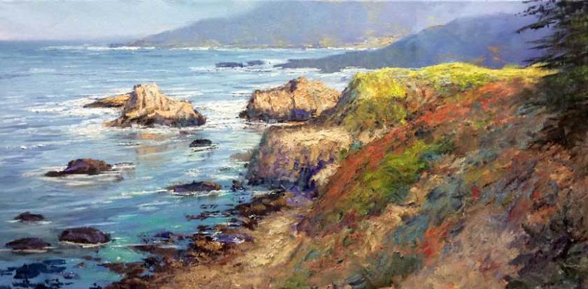 """First Light, Garrapata"", 12x24, oil on canvas"
