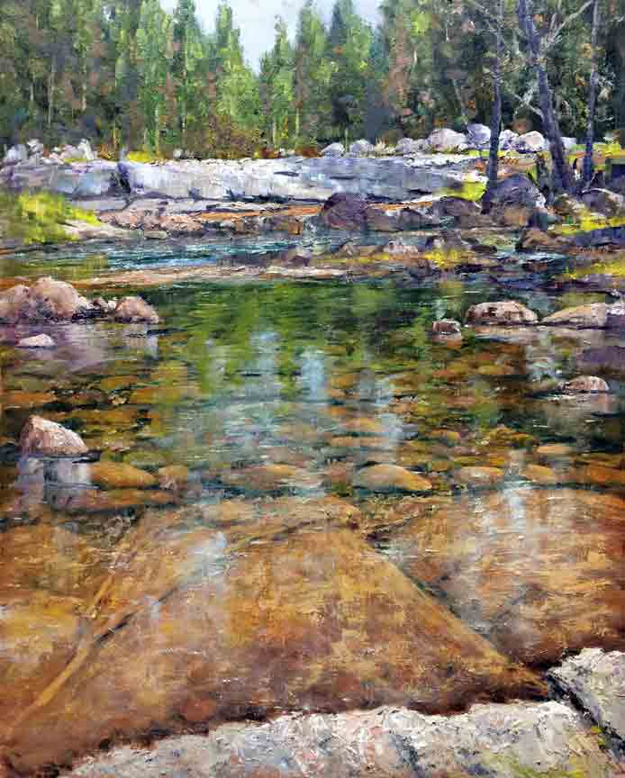 """Low Water on the Tuolumne"", 20x16, oil on board"