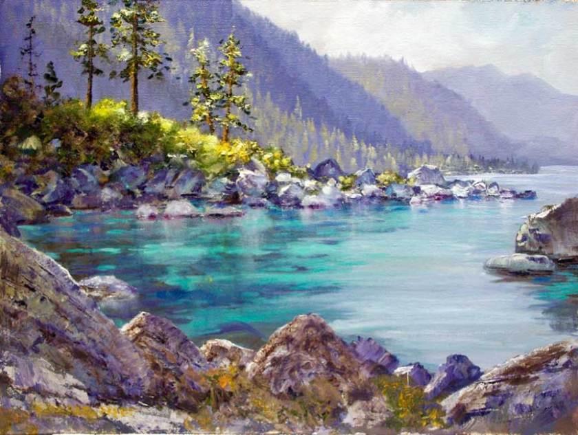 """""""Tahoe Inlet"""", 9x12, oil on board"""