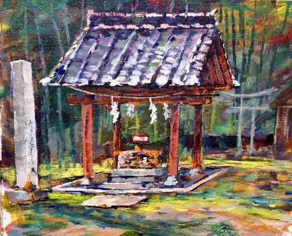 Shinto Shrine 2,8x10,acrylic on canvas