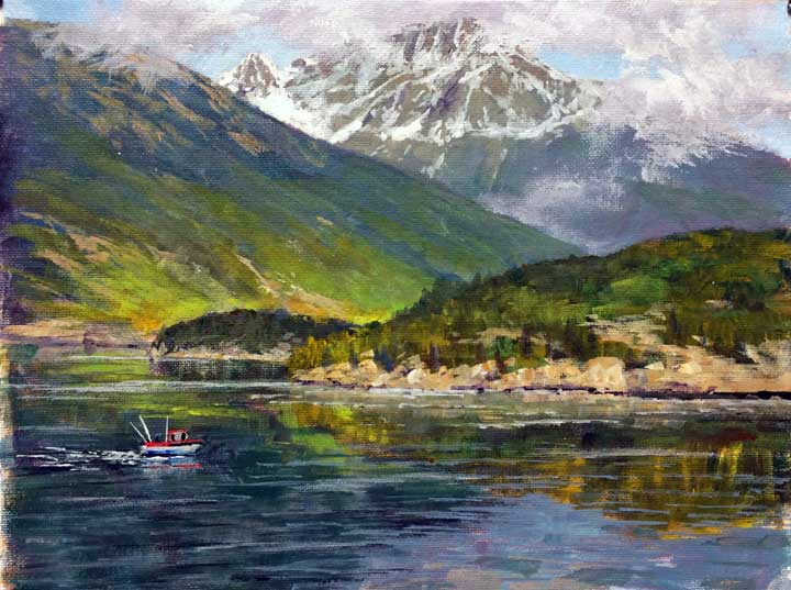 Taiya Inlet, 9x12, acrylic on canvas