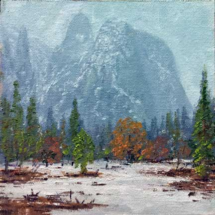 Misty Yosemite, 6x6, oil on panel