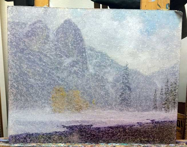 My demo painting was now a snowstorm!