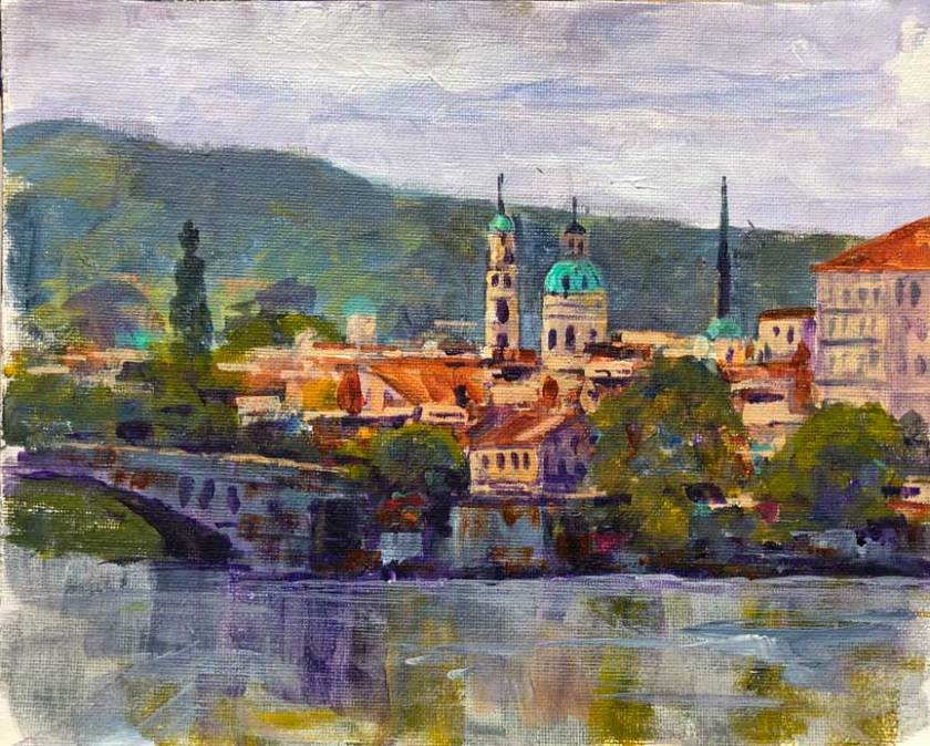 St Nicolas Church, Prague.  8x10, acrylic on canvas