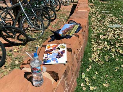 My acrylic kit while painting near Zion Lodge