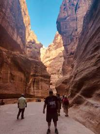 Yours Yours Truly walking through the Siq